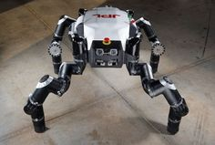 Known as 'Clyde,' RoboSimian is an an ape-like robot designed and built at Jet Propulsion Laboratory, Pasadena, Ca. The robot is four-footed but can also stand on two feet. It has four general-purpose limbs and hands capable of mobility and manipulation. Nasa, Real Robots, Humanoid Robot, Universe Today, Space Images, Emergency Response, Pentagon, Engineering, Challenges