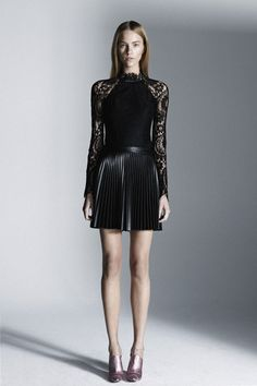 Pleated leather? YES PLEASE    Model: Nicole Pollard (Chic) wears Lover blouse $495 and leather skirt $329,