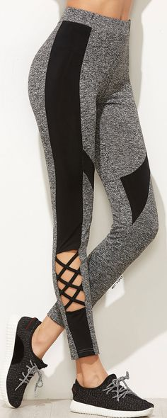 Grey Marled Knit Contrast Panel Leggings With Crisscross Detail
