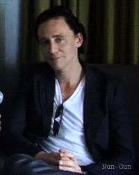 """Tom why are you so darn cute?!""   His reaction is this GIF"