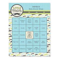 Dashing Little Man Mustache Party - Bingo Personalized Baby Shower Games - BabyShowerStuff.com