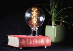 This item is unavailable Lamp Light, Light Bulb, Book Lamp, Recycled Books, Retro Lighting, Personalized Books, Vintage Stil, Jewerly, Recycling
