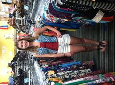 Haley showing off a 4th of July outfit in our Wesley Chapel store! Red tank $5 Forever 21 shorts $6 Flag denim vest $8 Sandals $6
