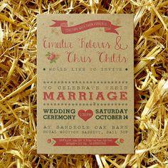 Invitation de mariage Vintage Country & Save par FeelGoodInvites, £1.49