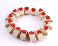 Wedding ceramic napkin rings with red hearts -  set of 16 napkin rings