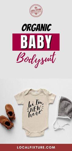 Cream Hi, I'm New Here Organic Baby Bodysuit