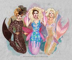 Bianca Del Rio, Adore Delano and Courtney Act: mermaids. FanArt