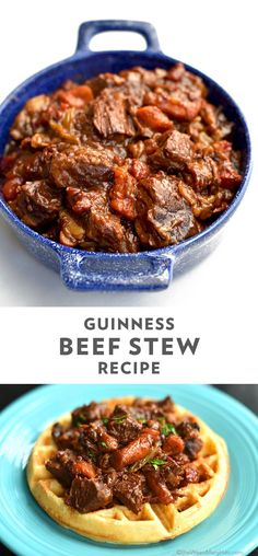 This Guinness beef stew recipe has comfort food written all over it. The dark beer brings out the rich flavor of the hearty beef and vegetables. Serve it alongside mashed potatoes or cornbread waffles Beef Soup Recipes, Beer Recipes, Entree Recipes, Veggie Recipes, Beef Stew With Beer, Guinness Beef Stew, Dutch Oven Beef Stew, Cooking With Beer, Cornbread Waffles