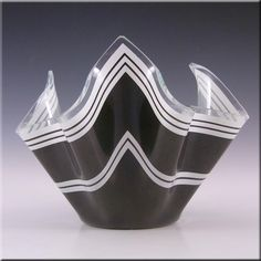 Chance Brothers Black Glass 'Bandel-2' Handkerchief Vase - £15.00