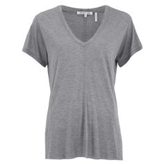 Helmut Lang Women's Deep V Neck T-Shirt - Heather Grey (190 PAB) ❤ liked on Polyvore featuring tops, t-shirts, grey, helmut lang tee, oversized tops, grey tee, heather grey t shirt and gray t shirt
