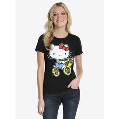 Sanrio Hello Kitty Bicycle Womens Tee ($16) ❤ liked on Polyvore featuring tops, t-shirts, tees, women, crew t shirts, crew neck t shirt, white tees, white short sleeve top and hello kitty t shirt
