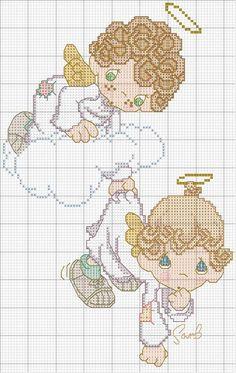 Вышивка крестом: ангелочки (7)