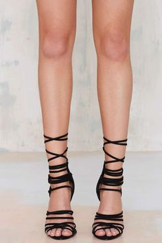 Nasty Gal Wrap Me Up Suede Heel - Black - Shoes | Open Toe