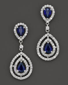 Sapphire and Diamond Teardrop Earrings in 14K White Gold