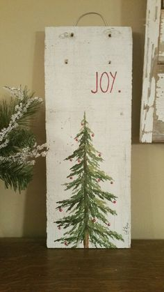 Wood Pallet Ideas Hand painted Christmas Decorations by TheWhiteBirchStudio on Etsy - Christmas Wood Crafts, Christmas Signs, Rustic Christmas, Christmas Art, Christmas Projects, Holiday Crafts, Christmas Holidays, Christmas Decorations, Christmas Ornaments