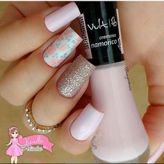 Make ups We ship to all countries Gold Nails, Nude Nails, Glitter Nails, Hair And Nails, My Nails, Nails 2017, Nail Design Video, Pink Nail Art, Manicure Y Pedicure