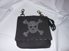 Black Crystal Skull Motorcycle Hip Bag with Strap by ttBirdDesigns, $25.00