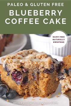 This Paleo Blueberry Coffee Cake is tender, moist, and full of fresh blueberries! Gluten free, dairy free, and naturally sweetened, but no one will be able to tell! It's that good! #paleo #healthy #easyrecipe #dairyfree | realfoodwithjessica.com @realfoodwithjessica
