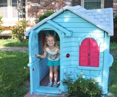 Sofi Loves Her Freshly Painted Little Tikes Playhouse Petticoat Junktion HomeRight Paint Sprayer Project