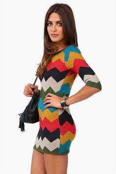 Chevron Sweater Dress in Multi