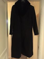 BHS Wool And Cashmere Long Charcoal Grey Winter Coat 12 Detachable Fur Collar