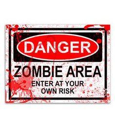 Placa-Cuidado-Area-com-Zumbis---Versao-Ensanguentada