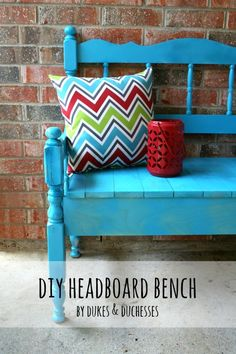 a DIY bench made from a vintage headboard and footboard