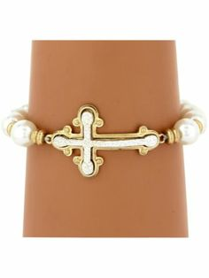 Pearl and Two-Tone Cross Charm Bracelet