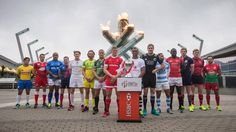 Team captains pose for a photograph at the Olympic cauldron to promote the World Rugby Sevens Series tournament in Vancouver, B.C., on March 9, 2016. The two-day tournament is scheduled to be held March 12 and 13. (DARRYL DYCK/THE CANADIAN PRESS)