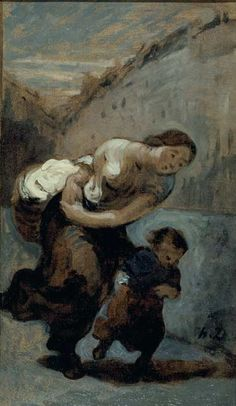 Honoré Daumier, The Heavy Burden, circa 1850, oil on paper laid down on canvas, 18 ½ x 10 5/8 in. (47 x 27 cm.), Musée des Beaux-Arts, Dijon.