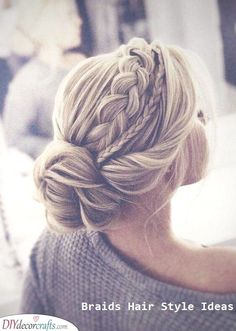 The most perfect braided updo twisted into an elegant low bun. This hairstyle is… The most perfect braided updo twisted into an elegant low bun. This hairstyle is absolutely perfect for weddings, proms, and other special occasions. Bridal Hair Updo, Wedding Hair And Makeup, Braid Wedding Updo, Updos For Wedding, Long Hair Updo Prom, Prom Hair Updo Elegant, Hair Wedding, Fancy Hairstyles, Bride Hairstyles
