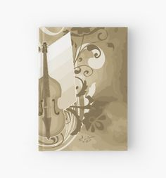 #SoftBrown #ViolinFloralSwirl #HardcoverJournal by #MoonDreamsMusic