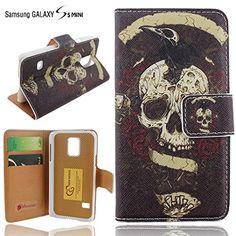 Ancerson® PU Leder Tasche Wallet Case Schutzhülle für Samsung Galaxy S5 mini G800 Flip Case Ledertasche Etui Schutz Hülle Handytasche Standfunktion Kartenfächer Magnetverschluss (Weiß Schädel Schwarz)