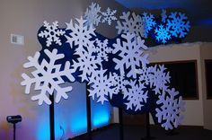 snowflake backdrop. This would be cool if they were huge, spray-painted white and hanging from the ceiling with fishing line.
