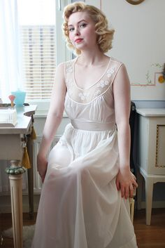 A full-length vintage nightgown with really lovely details, via Johanna Ost.
