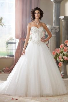 214209 - McKayla 2014 Collection – Strapless embroidered metallic lace, tulle and sequin ball gown wedding dress with sweetheart necklin...