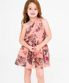 Look what I found on #zulily! Pink & Black Floral Asymmetrical Dress - Toddler & Girls by Yo Baby #zulilyfinds