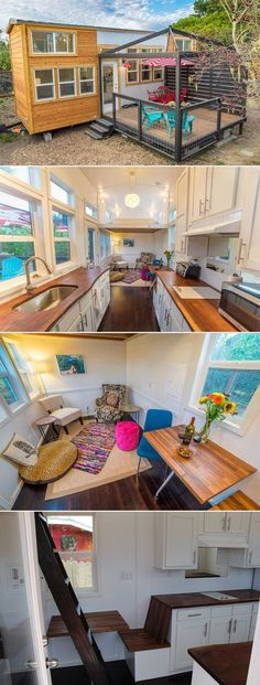 """This 28' tiny house on wheels includes a large galley kitchen with upper cabinets and two loft bedrooms.  The bathroom comes standard with a 48"""" shower or a 60"""" upgraded tub/shower combo."""