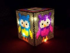 Lamp of Perler Beads - Instructions and Template Perler Bead Designs, Perler Bead Templates, Perler Bead Art, Owl Perler, Hama Beads 3d, Fuse Beads, Pearler Beads, Pearler Bead Patterns, Perler Patterns