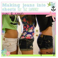 Making jeans into shorts for the summer DIY Diy Fashion, Fashion Beauty, Womens Fashion, Summer Outfits, Cute Outfits, Summer Clothes, Diy Shorts, Diy Jeans, Do It Yourself Fashion