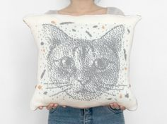 Custom portrait photo white and gray knitted pillow by camelotia