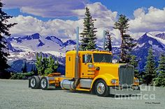 This nice old Kenworth was custom altered in photoshop with the photo of the truck from the Big Rig Weekend Truck Show in Chilliack, B.C. with a photo of the mountains in Whistler, B.C.