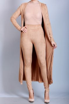 SUEDE CARDIGAN AND HIGH WAIST LEGGINGS SET NUDE — Appealing Fashion