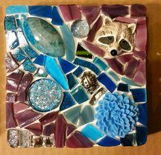 Raccoon mosaic,  pre-grout.  #PrancyBearStudio