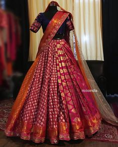 Looking for a budget lehenga store in Delhi? Check out the collection by Ricco India. Lehenga prices start from INR and they even do banarasi lehengas. Lehenga Saree Design, Half Saree Lehenga, Lehnga Dress, Lehenga Designs, Lehenga Skirt, Lehenga Style, Designer Bridal Lehenga, Indian Bridal Lehenga, Indian Bridal Outfits