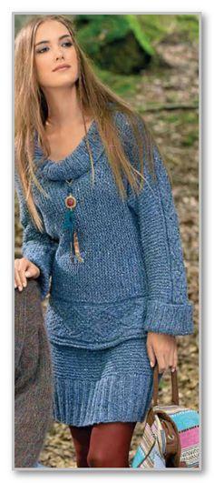 Вязание спицами. Меланжевый комплект: короткая юбка и пуловер поперечной вязки. Размеры: 36/38 (40/42)