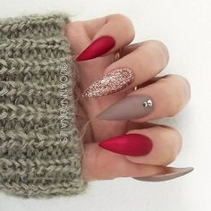 ✨ REPOST - - • - - Festive Stiletto Nails in Red, Brown and Rose Gold Glitter ⭐✨ - - • - - Picture...