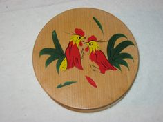 Vintage Wooden Hamburger Press, Vintage Kitchen, Hand Painted Rooster, Japan by FremarsTreasures on Etsy