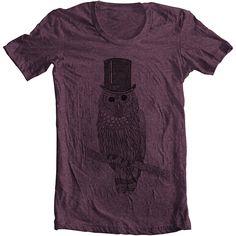 Mens' Women's Unisex OWL Fashion T shirt - American Apparel Tee Tshirt... ($20) ❤ liked on Polyvore