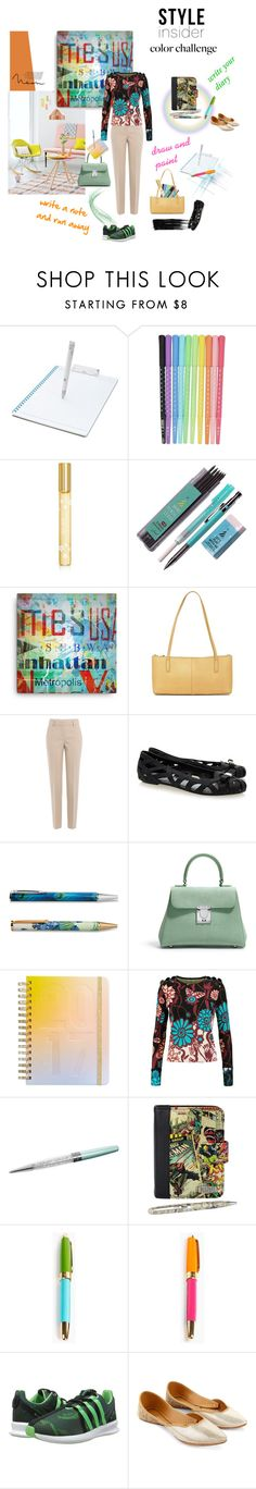 """""""Ideas for a good use of  pencils, pens, notebooks etc."""" by happiestime ❤ liked on Polyvore featuring cutekawaii, Marc Jacobs, Lands' End, HOBO, DKNY, Melissa, Improvements, Asprey, ban.do and Issa"""
